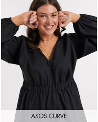ASOS Черное Платье Мини Из Хлопкового Поплина С V-образным Вырезом - Черный