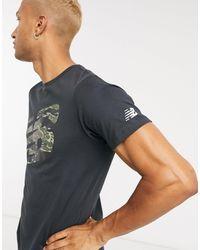 New Balance - – Running Heathertech – es T-Shirt mit Logo im Military-Look - Lyst