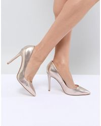 Faith - Chloe Rose Gold Pointed Heeled Shoes - Lyst