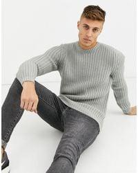 ASOS Tall Fisherman Rib Sweater - Grey
