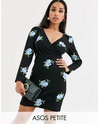 ASOS Asos Design Petite Embroidered Scuba Mini Wrap Dress - Black