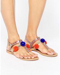Glamorous Pom Pom Charm Leather Toepost Flat Sandals - Multicolour