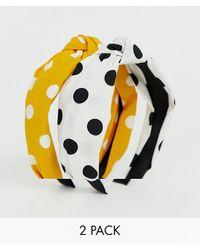 Stradivarius Two Pack Polka Dot Headbands In Multi - Multicolor