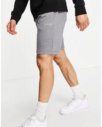 Calvin Klein Трикотажные Шорты Серого Меланжевого Цвета С Маленьким Вышитым Логотипом -серый