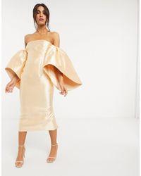 ASOS Structured Midi Dress With Extreme Sleeve - Orange