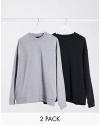 ASOS Confezione da 2 felpe oversize nero/grigio mélange