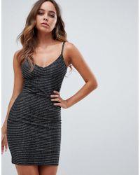 Boohoo - Metallic Cami Dress In Black - Lyst