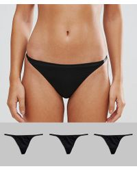 ASOS - 3 Pack Microfibre T Back Thong - Lyst