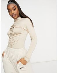 Missguided Long Sleeve Bodysuit With Ruched Front - Natural