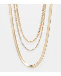 ASOS Asos Design Curve - Gelaagde Ketting Met Platte Slangenhangertjes En Schakeltjes - Metallic