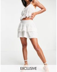 Reclaimed (vintage) Inspired Tiered Mini Skirt With Lace Detail - White