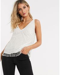 ASOS V Neck Cami With Pearl Embellishment - Natural