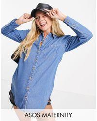ASOS Asos Design Maternity Soft Denim Puff Sleeve Shirt - Blue