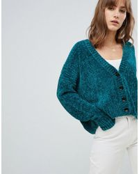 ASOS - Design Cropped Cardigan In Chenille With Buttons - Lyst