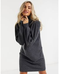 Pieces Knitted Sweater Dress With Roll Neck - Gray