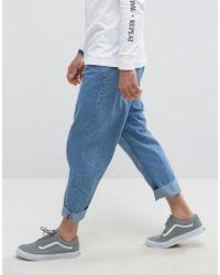 Bershka Loose Fit Jeans In Mid Blue Wash