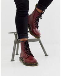 Dr. Martens Кожаные Ботинки Вишневого Цвета С 8 Парами Люверсов 1460 - Красный