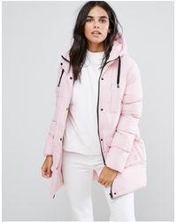Brave Soul Mid Padded Coat - Pink