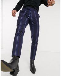 ASOS Pantaloni eleganti vita alta ampi a righe blu navy e arancione