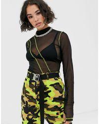 ASOS Top en tulle à manches longues et coutures contrastantes - Noir
