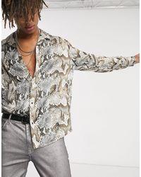 Heart & Dagger Snake Print Shirt With Long Sleeves - Gray