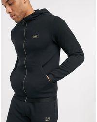 EA7 Armani - - Gold Label - Fleece Trainingspak Met Logo - Zwart
