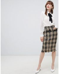 Darling - Textured Checked Pencil Skirt - Lyst