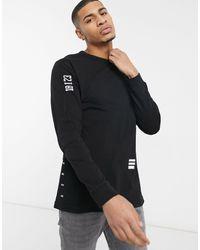 G-Star RAW Arm Script Detail Long Sleeve Top - Black