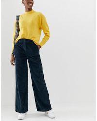 ASOS Pantalon large souple en velours côtelé - Bleu sarcelle foncé - Marron