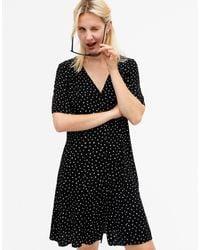 Monki Winona Spot Print Button Through Mini Dress - Black