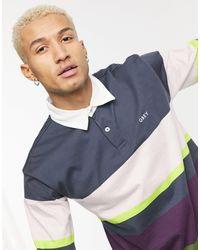 Obey Benny Long Sleeve Stripe Polo - Blue
