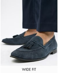KG by Kurt Geiger Kg By Kurt Geiger Wide Fit Tassel Loafers In Navy Suede - Blue