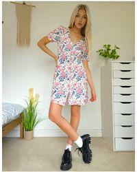 Oasis Платье На Пуговицах С Цветочным Принтом -многоцветный