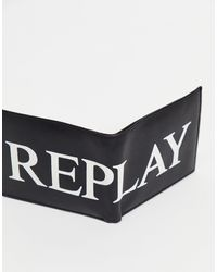 Replay Cartera plegable con logo - Negro