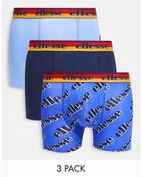 Ellesse Набор Из 3 Боксеров Темно-синего И Голубого Цветов С Принтом -многоцветный - Синий