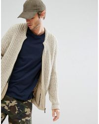 ASOS - Asos Heavyweight Knitted Bomber In Beige - Lyst