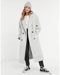 ASOS – Gebürsteter Oversize-Mantel zum Reinschlüpfen - Grau