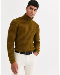 ASOS Heavyweight Fisherman Rib Roll Neck Sweater - Multicolor