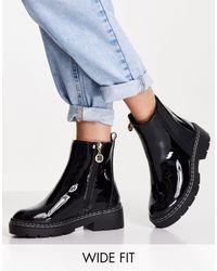 River Island Черные Лакированные Ботинки Челси -черный Цвет
