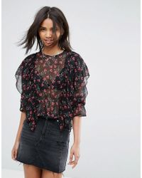 Madam Rage - Frilled Long Sleeve Floral Blouse - Lyst