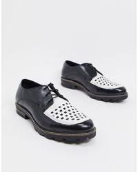 Ben Sherman Контрастные Черно-белые Кожаные Ботинки На Шнуровке С Массивной Подошвой -черный
