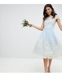 Chi Chi London - Premium Lace Midi Prom Dress With Bardot Neck - Lyst