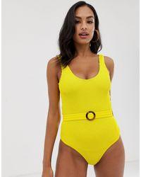 Y.A.S Costume da bagno sgambato testurizzato giallo con cintura