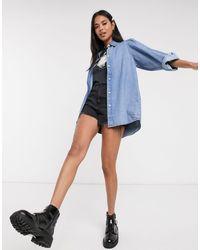 Monki Jennifer Organic Cotton Puff Sleeve Denim Shirt - Blue
