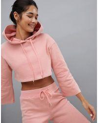 South Beach Bell Sleeve Crop Hoodie In Blush - Pink
