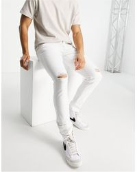 River Island Skinny Jeans With Rips - White