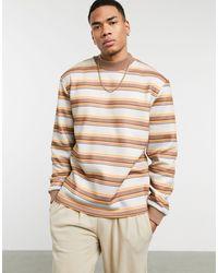 ASOS Sweatshirt With Multi Horizonal Stripes - Multicolour