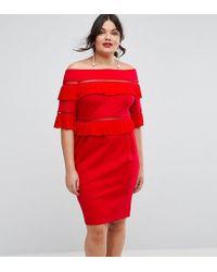 ASOS - Pleat & Ruffle Off Shoulder Dress - Lyst