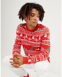 Only & Sons - Christmas Jumper With Novelty Fairisle - Lyst