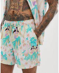 ASOS Pantaloncini corti con stampa hawaiana - Rosa